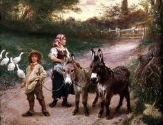 Peasant Children with Donkeys Wall Art & Canvas Prints by Edgar Bundy