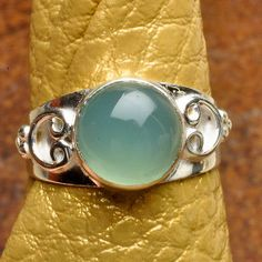 CAROLYN NATURAL CHALCEDONY GEMSTONE 925 STERLING SILVER RING, SIZE 7 $10.70