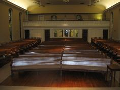 Inside of Christ Lutheran in Gettysburg. When WF was there, there was a center aisle. Boards laid across pews for injured soldiers.