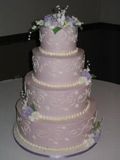 My favorite color! when planning a wedding cake think outside the box. The frosting does not have to be white or ivory. It can be the color of the wedding though I would stick with light colors like this unless it is fondant. Also, some colors are not visually appetizing