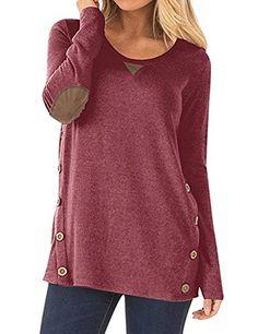 Women& Long Sleeve Blouse Button Decor Casual Loose Tunics T-Shirt Tops Light Red Small Shirt Bluse, Tunic Shirt, Tunic Tops, Sweatshirt, Blouse, Flowy Tops, Shirt Dress, Style Casual, Casual Tops