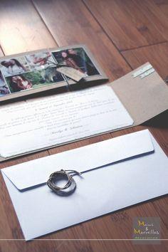 Faire-part mariage rétro: craft, lin, vert http://www.mainsetmerveillesdeco.fr/
