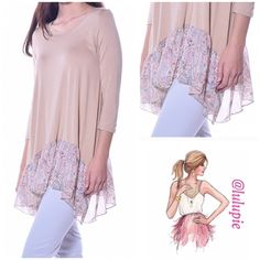 Chiffon Hem Tunic Pastel Tan color tunic top with printed chiffon hem. Super soft and lightweight with 3/4 sleeve. Made from viscose/ spandex blend. B Chic Tops Tunics