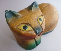 Vintage wood cat by HollyWouldFind on Etsy