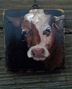 Cow Face on old Wood by pennsylvaniafolkart on Etsy