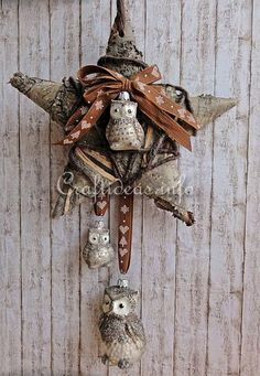 Tree Bark Star and Owl
