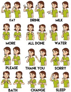 Simple sign language for a small child that doesn't talk yet