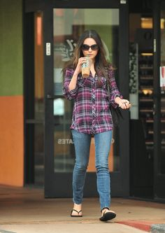 Mila Kunis Fashion Style ~ almost exactly what I wore today, except shirt was in shades of purple.