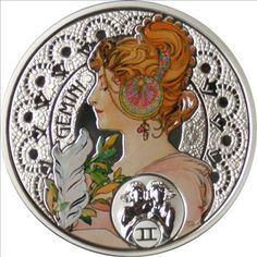 Gemini silver coin, with the art of Alfons Mucha