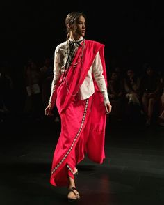 Pussy-bow blouse with a saree? We approve  @amoh_byjade #LFW  via GRAZIA INDIA MAGAZINE OFFICIAL INSTAGRAM - Fashion Campaigns  Haute Couture  Advertising  Editorial Photography  Magazine Cover Designs  Supermodels  Runway Models