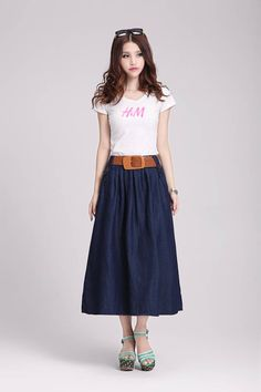 2015 summer vintage womens long denim skirts maxi long jean skirts women fashion casual light blue skirt dans Jupes de Accessoires et vêtements pour femmes sur AliExpress.com | Alibaba Group