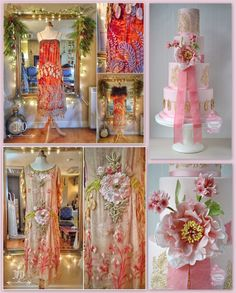 """""""Evelyn"""" wedding cake design iced in one of this year's bridal Pantone colours, Rose Quartz, and decorated with sugar tree peony, cornflowers, gilded lace brush embroidery and sugar feathers, alongside Joanne Fleming Design 1920's flapper-style dresses which inspired my design.  {Dress photo source Joanne Fleming Design}"""