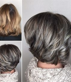 60 Ideas Hair Highlights Blonde Grey Low Lights - All For Hair Color Balayage Gray Hair Highlights, Hair Color Balayage, Balayage Brunette, Blonde Color, Sombre Hair, Lowlights For Gray Hair, Gray Balayage, Short Balayage, Light Highlights