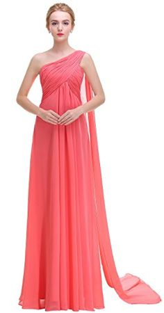 Esvor One Shoulder Long Prom Evening Gown Bridesmaids Dress Coral 12. Please note: When you order your dress, please check left size image, not size Amazon info link. One shoulder with Padded Ruffles, Built-in bra in the bodice, Fully lined. Shoulder strap is not adjustable, The back is zipper up. Visit our store to buy more perfect bridesmaids dress,homecoming,cocktail,juniors or evening dress. Bridesmaids dress under $40, evening dress under $40,formal dress under $40, party dress under…
