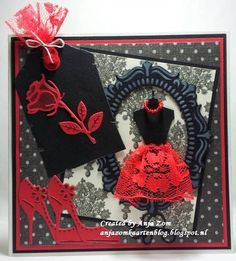 Anja Zom kaartenblog Homemade Greeting Cards, Homemade Cards, Card Kit, Card Tags, Marianne Design Cards, Sewing Cards, Dress Card, Birthday Cards For Women, Pretty Cards