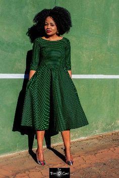 African Print Ankara Sotho Seshweshwe Maxi Dress