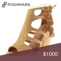 COMING SOON! Tan Vegan Suede Heeled Sandals! NEW! Super cute! Size 7 and 8 available soon! Qupid Shoes Heeled Boots
