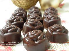 Bombones rellenos de chocolate blanco y crema catalana