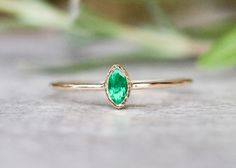 Natürliche Smaragdring in 14 Karat Gold Verlobungs