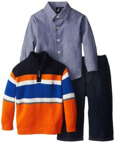 Nautica Baby-Boys Infant 3 Piece Striped Quarter Zip Sweater Set, Orange, 12 Months