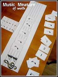 There really is so much math in music, and an activity like this can connect music and math. Not only will students be working on their counting skills, they will also have the opportunity to think about the concepts of 1/2 and whole (an 8th note is half as long as a 1/4 note/ a half note is half as long as a whole note) and greater than/less than/equal to (two quarter notes equal one half note, a whole note is greater than a half note).