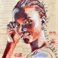 Collage drawings by French illustrator Stephanie Ledoux African American Artwork, African Art, Collage Drawing, Painting & Drawing, Inspiration Art, Art Inspo, Watercolor Portraits, Watercolor Art, Art Amour