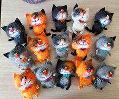 Click Visit link for more info Felt Owls, Felt Cat, Felt Animals, Needle Felted Cat, Needle Felted Animals, Comic Cat, Felt Decorations, Cat Doll, Felting Tutorials