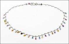 A 14 KARAT WHITE GOLD AND SEMI-PRECIOUS STONE NECKLACE. Lot 150-7224 #jewelry