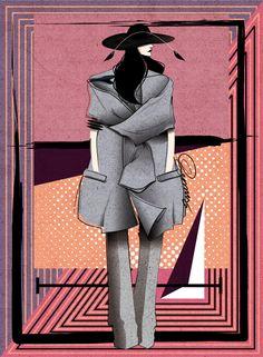 Coat by Celine F/W 2013; hat by Ann Demeulemeester F/W 2013; pants by Yohji Yamamoto F/W 2013; cuff by Rick Owens Men's F/W 2012 by Renz Reyes Illustration.Files: Designer Remix Vol. 1 by Renz Reyes