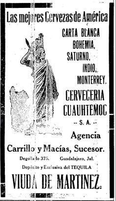 1920 - Anuncio de Cervezas. Anuncio publicado en el Informador Guadalajara, Jalisco México