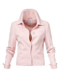 This supremely elegant pastel-rose blazer has a uniquely feminine feel due to its boxy shape, soft wavy front edges, generous collar and concealed press-studs. With sleeve slits for turning back the tone-on-tone lining. Pastel Jacket, Pink Jacket, Blazer Jacket, Leather Jacket, Pastel Roses, Pastel Pink, Pastel Colours, Pastell Highlights, Rosa Blazer