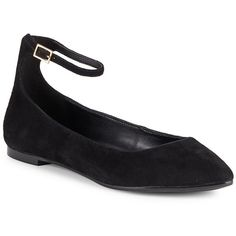 BCBGeneration Malinda Leather Point-Toe Flats ($40) ❤ liked on Polyvore featuring shoes, flats, pointed-toe flats, black flats, flat shoes, black shoes and pointed toe shoes