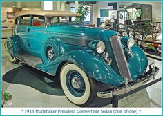 1935 Studebaker President Convertible Sedan (one of one) - This Convertible Sedan was the first 1935 President built at Studebaker's Walkerville, Ontario plant. The chassis was outfitted with a custom aluminum body and a production convertible sedan model was not offered in 1935.
