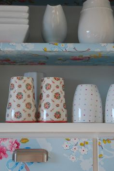 Love the wallpapered cabinet fronts - GreenGate Stoneware Millie White