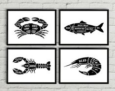 Check out our printable kitchen art selection for the very best in unique or custom, handmade pieces from our shops. Kitchen Prints, Kitchen Wall Art, Seafood Store, Chalkboard Art, Etsy Uk, Food Art, Stencils, Cow, Chart