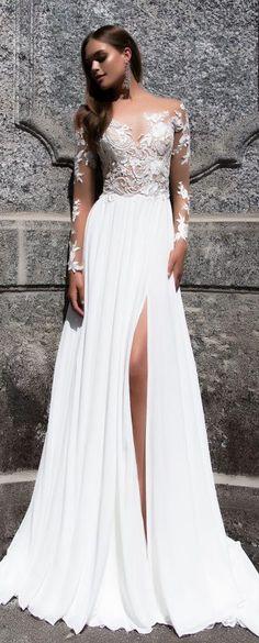 White Lace Side Slit Elegant Prom Dresses, Cheap Custom Wedding ...