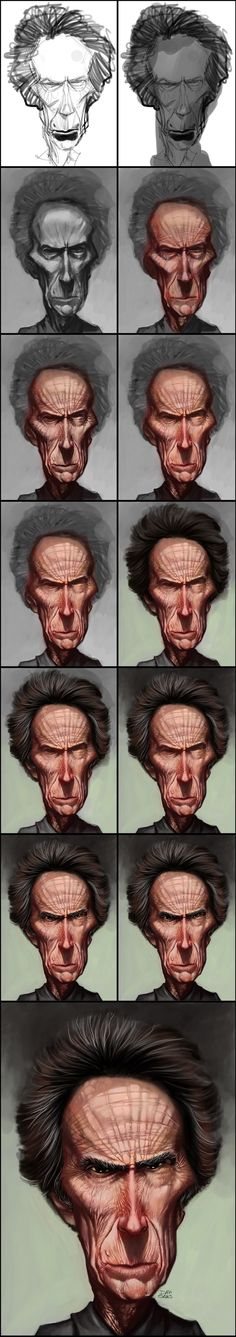 Clint Eastwood process by ~davisales on deviantART