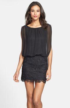 chiffon and lace blouson dress