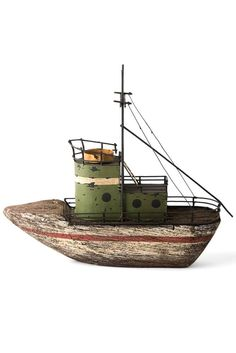 Little green boat Deco Marine, Art Through The Ages, Driftwood Sculpture, Boat Art, Wood Boats, Driftwood Crafts, Wooden Ship, Wood Creations, Beach Crafts