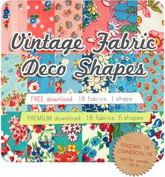 Clip Art: Vintage Fabric Deco Shapes
