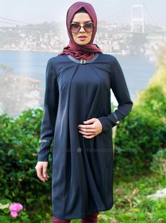 11d5cb7c59e Accessory Belt Tunic - Navy Blue - Tunics - Modanisa Tunics, Hijab Fashion,  Dresses