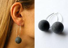 Earrings genuine Amber earrings black Ball Gift for she