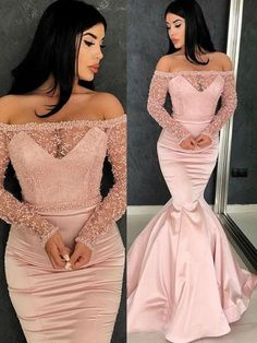Prom Dress For Teens, Stylish Trumpet/Mermaid Long Sleeves Off-the-Shoulder Sweep/Brush Train Ruffles Satin Dresses cheap prom dresses, beautiful dresses for prom. Best prom gowns online to make you the spotlight for special occasions. Chiffon Dress Long, Prom Dresses Long With Sleeves, Mermaid Evening Dresses, Evening Gowns, Satin Dresses, Elegant Dresses, Formal Dresses, Formal Prom, Sleeveless Dresses