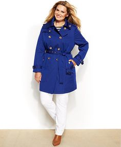 MICHAEL Michael Kors Plus Size Double-Breasted Belted Trench Coat