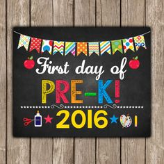 First Day of PRE K Sign Pirntable  INSTANT by TheLovelyDesigns
