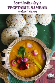 Sambar is a gluten-free, vegan South Indian curry of lentil and mixed vegetables via funfoodfrolic.com #glutenfree #veganrecipes #vegetarianrecipes #glutenfreerecipes #curry #indianrecipes #healthyrecipes