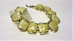 Coro Yellow Confetti Lucite Bracelet 1950s Lucite Square Link