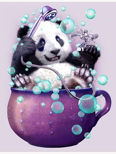 """PANDA BATH"" Canvas Print by MEDIACORPSE 