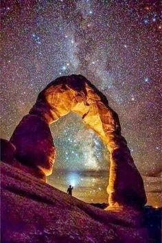 Milky way over Arches national park.a desert landscape in Utah. Beautiful World, Beautiful Places, Beautiful Pictures, American National Parks, Parcs, Adventure Is Out There, Milky Way, Oh The Places You'll Go, Belle Photo