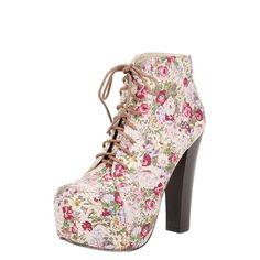 Vidros Victoria1 Lace Up Taupe floral botas plataforma tornozelo e vestuário das mulheres Moda e Calçado - Make Me Chic